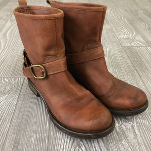 Lucky Brand Weathered Buckle Ankle Boots